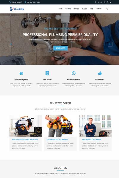 Plumbinn - Plumbing and Repairing Landing Page Template #73410