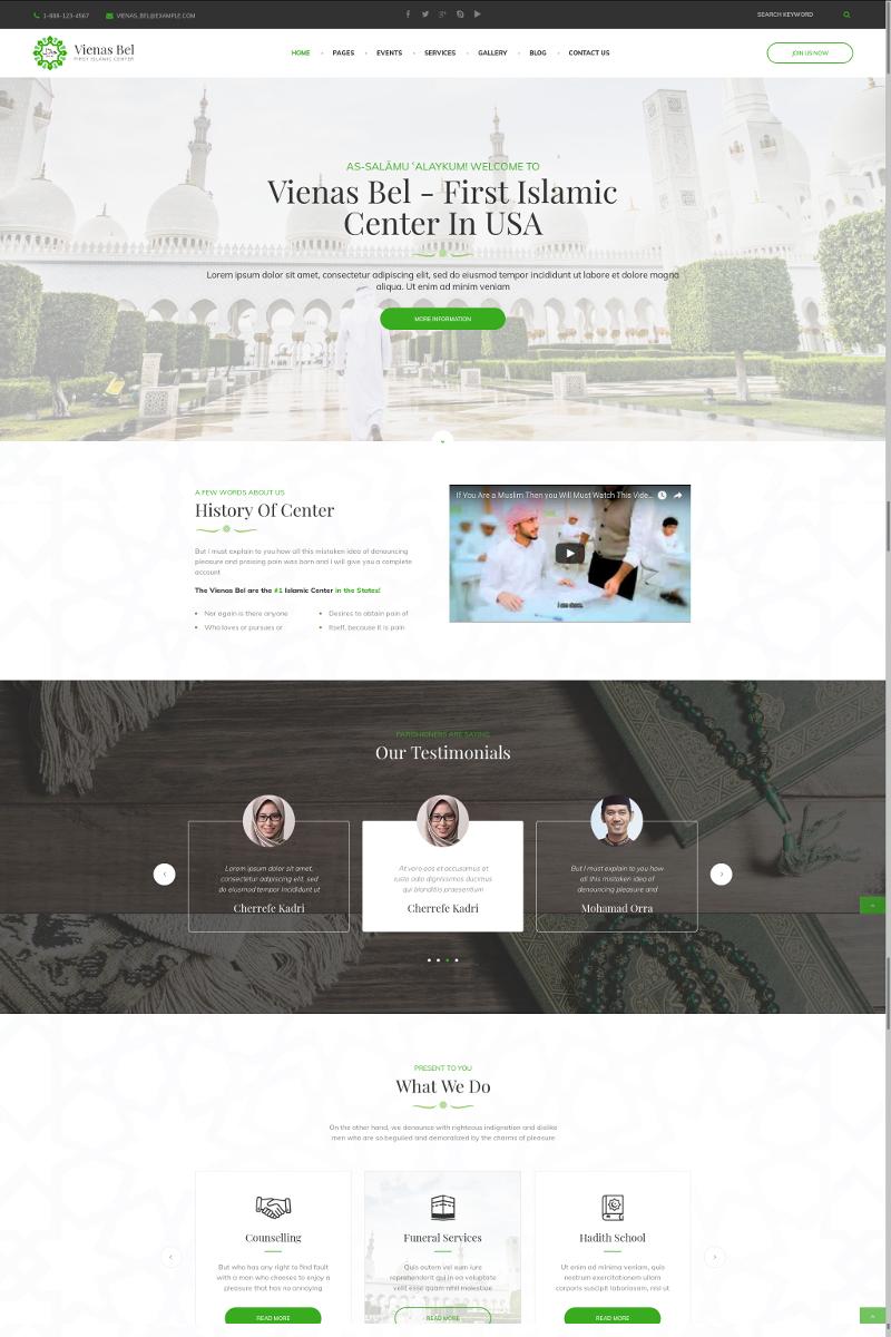 Premium VienasBel - Islamic Religious & Cultural Center WordPress-tema #73432
