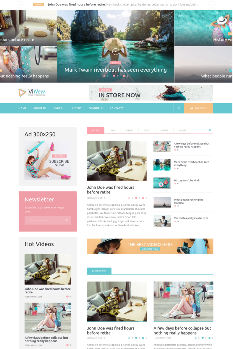 Prémium Vinews - Modern Media Portal WordPress sablon 73416