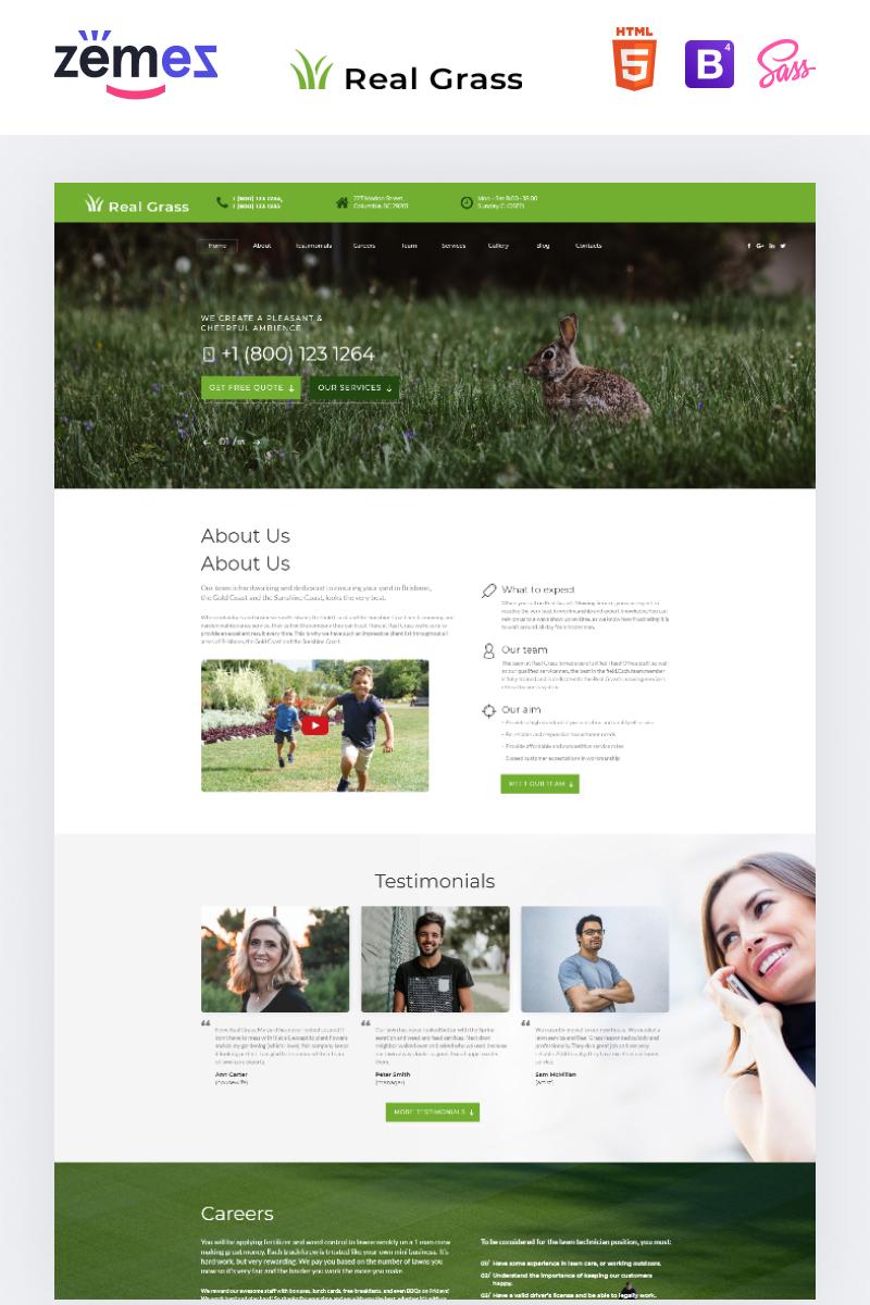 """Real Grass - Garden Maintenance HTML"" modèle  de page d'atterrissage adaptatif #73436"
