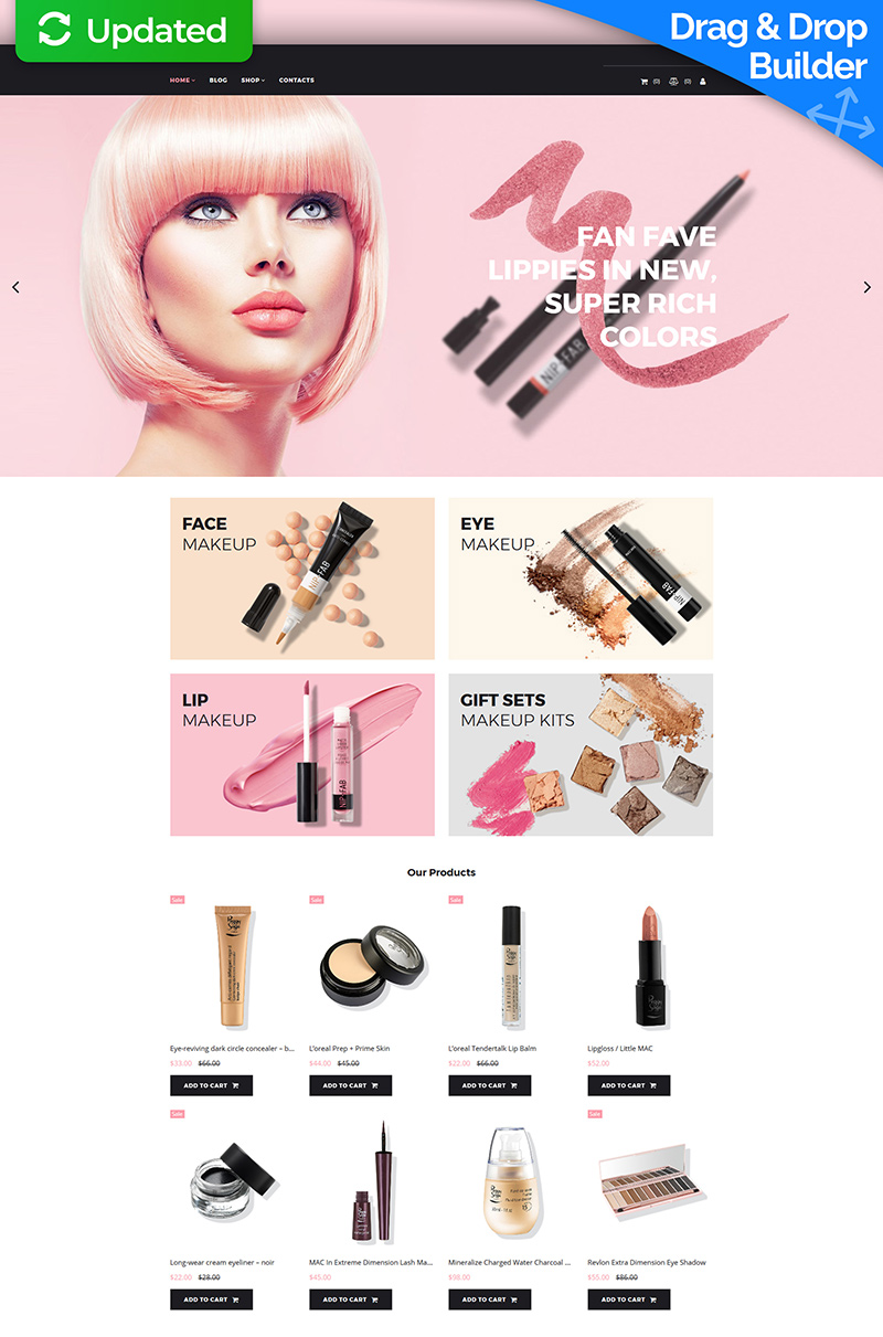 Responsivt Paletto - Cosmetic Store MotoCMS Ecommerce-mall #73423