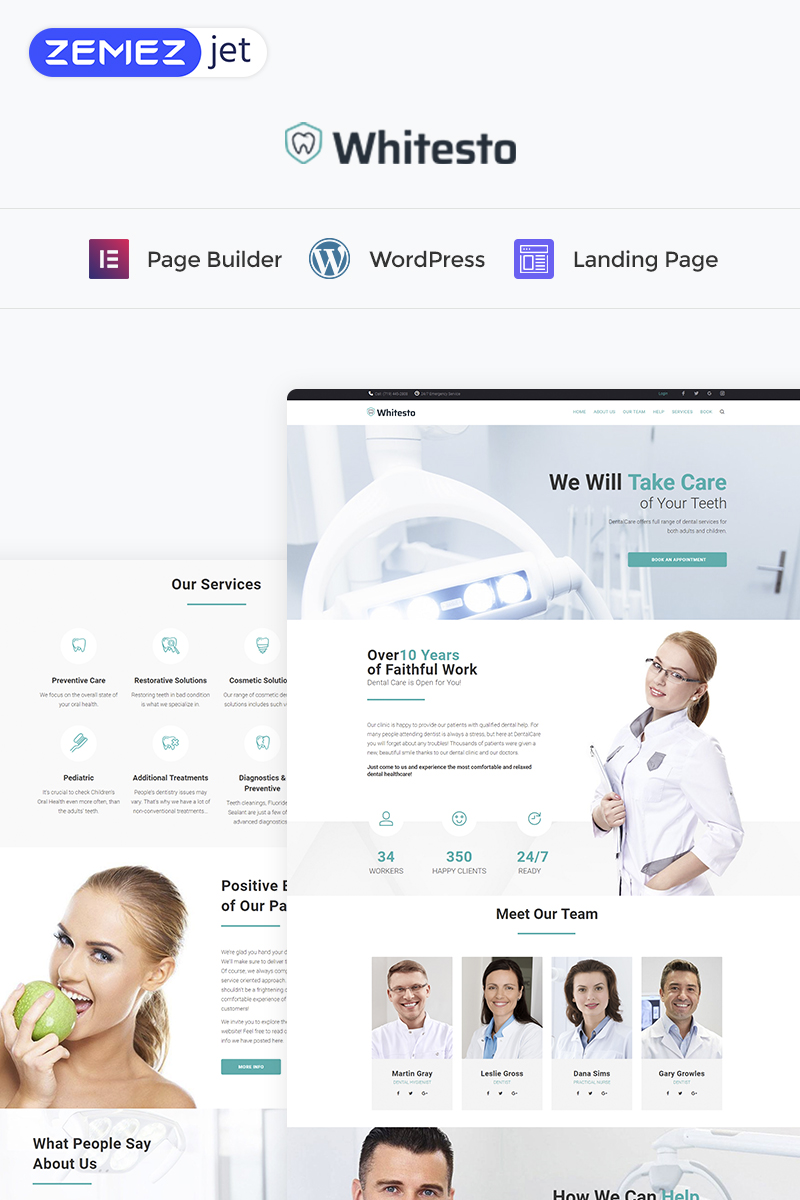 Responsivt Whitesto - Dental Clinic Elementor WordPress Landing Page-mall #73456