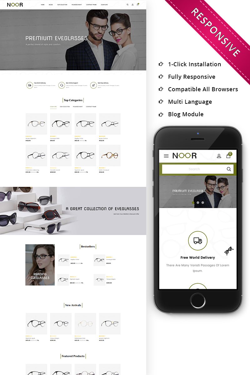 "Responzivní OpenCart šablona ""Noor - The Optical Shop Responsive"" #73494 - screenshot"