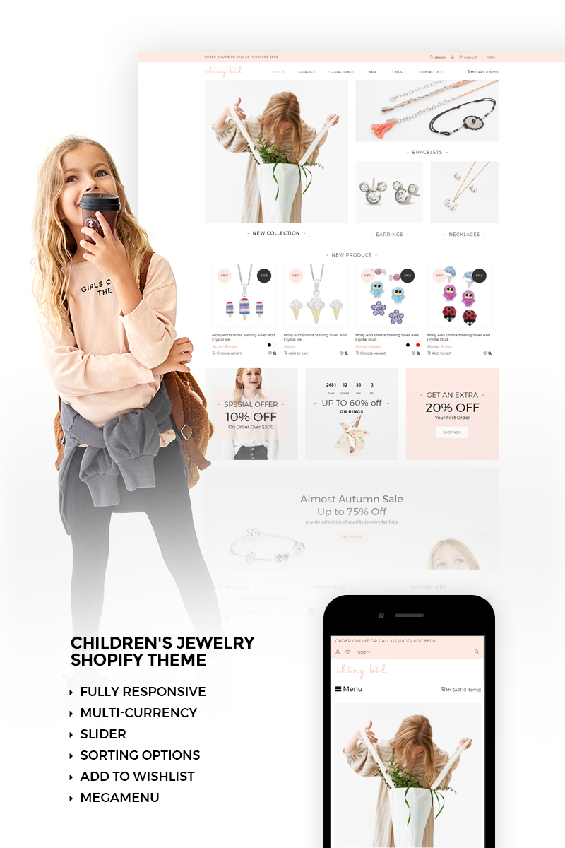 """Shiny Kid - Children's Jewelry"" - адаптивний Shopify шаблон №73426"