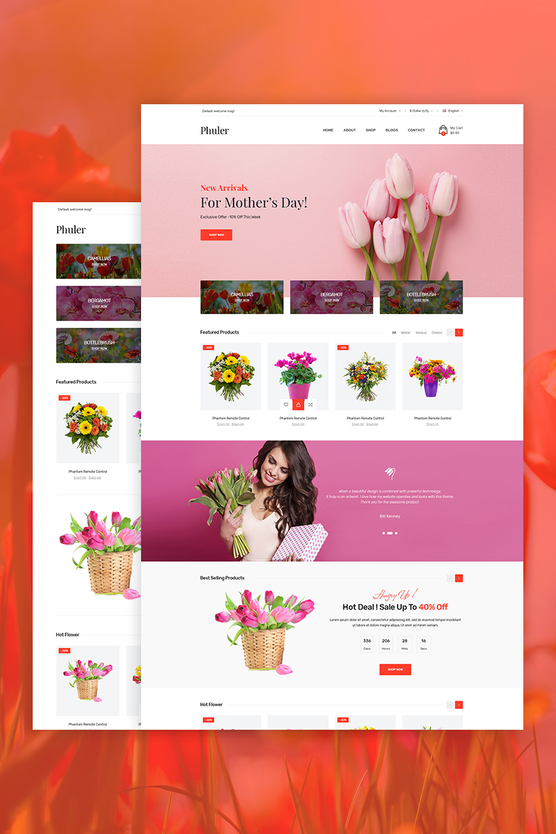 "Tema WooCommerce ""Phuler - Flower Shop"" #73472"