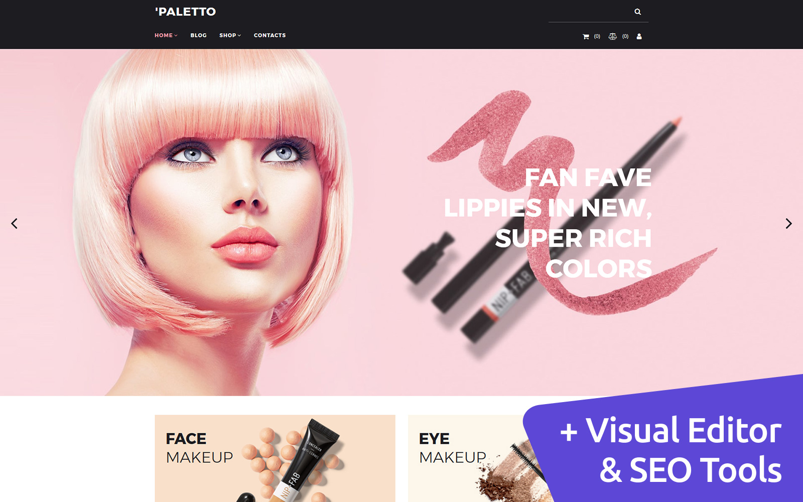 """Template MotoCMS E-commerce Responsive #73423 """"Paletto - Cosmetic Store"""""""