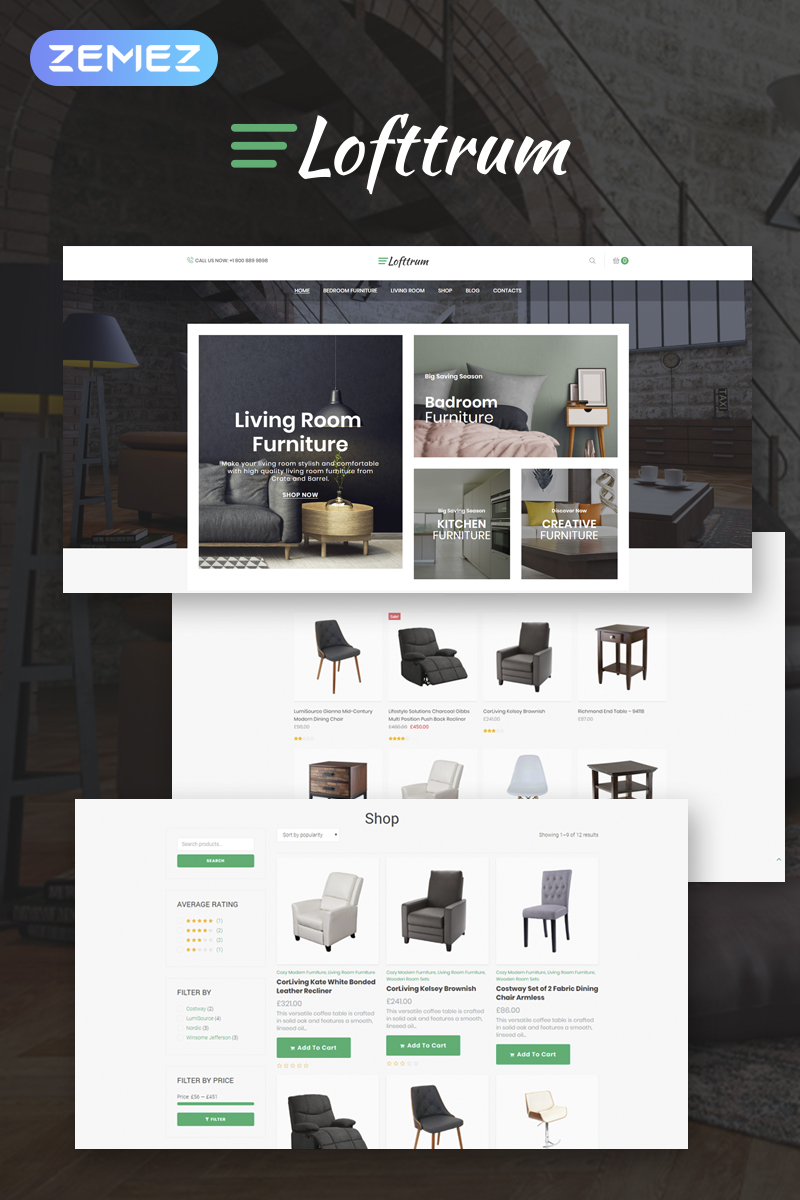 "Template WooCommerce Responsive #73447 ""Lofttrum - Furniture Online Shop Elementor"""
