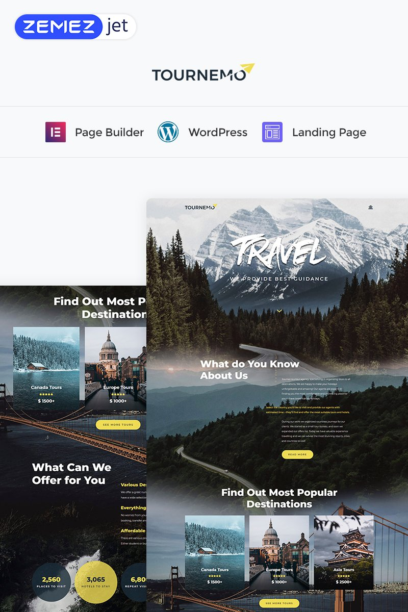 Tournemo - Travel Elementor WordPress Landing Page Template