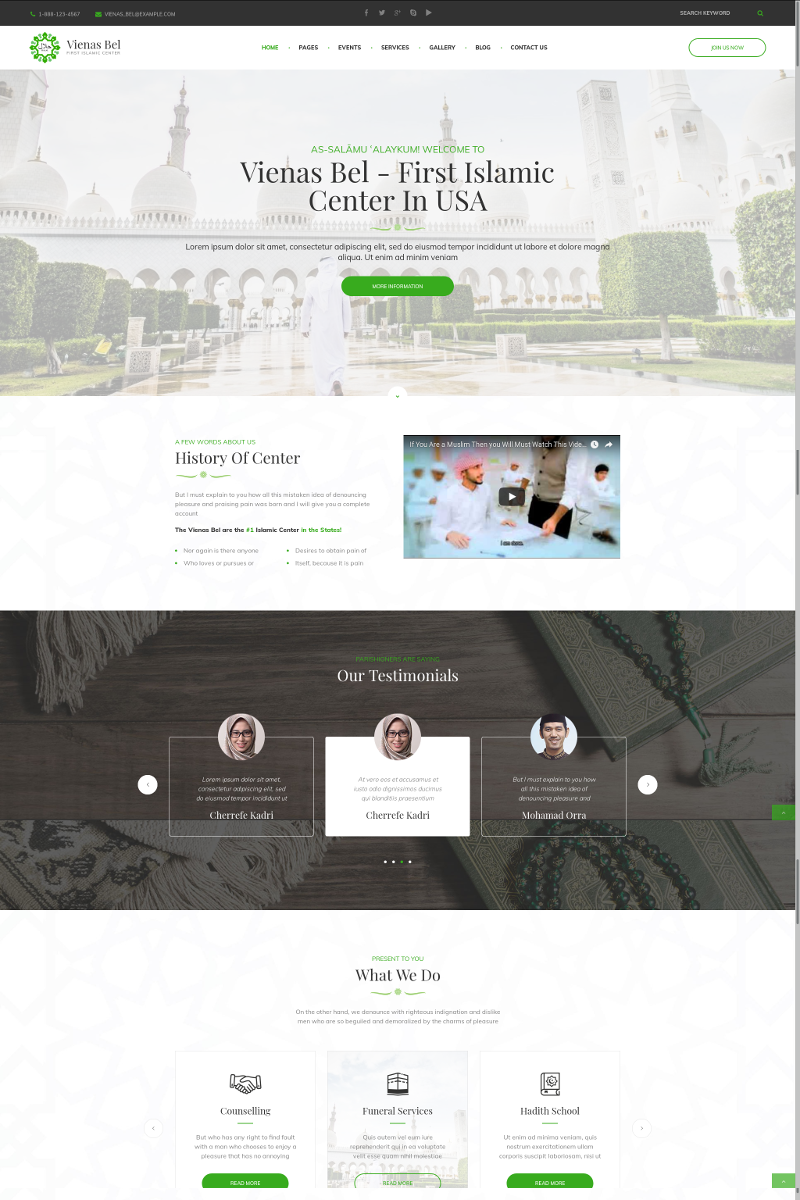VienasBel - Islamic Religious & Cultural Center WordPress Theme - screenshot