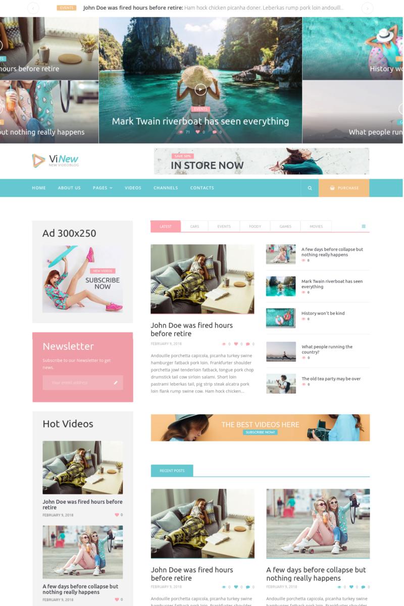 """""""Vinews - Modern Media Portal"""" - WordPress шаблон №73416"""