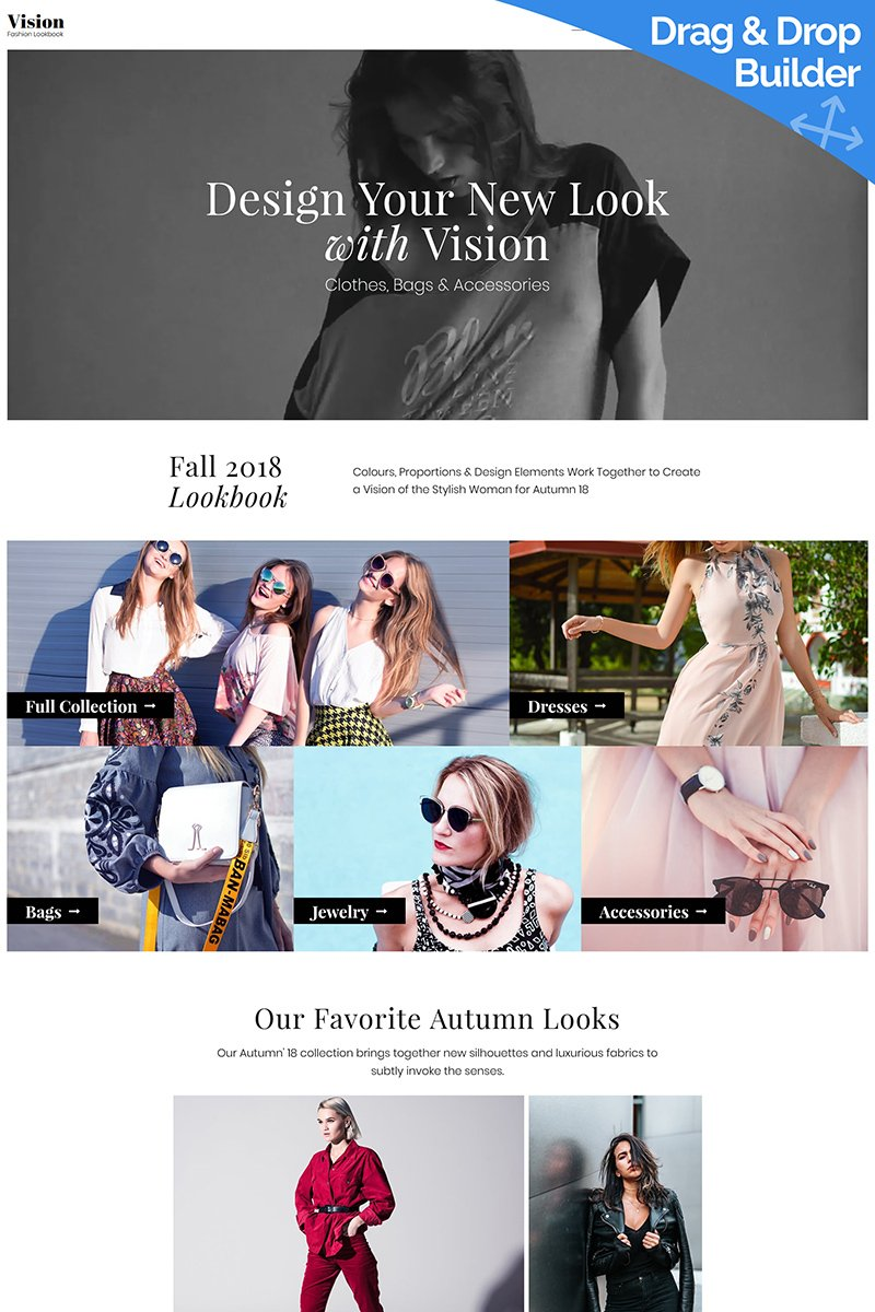 Website Design Template 73584 - lookbook blog week women outfit trends clothing booklook lookbookstore