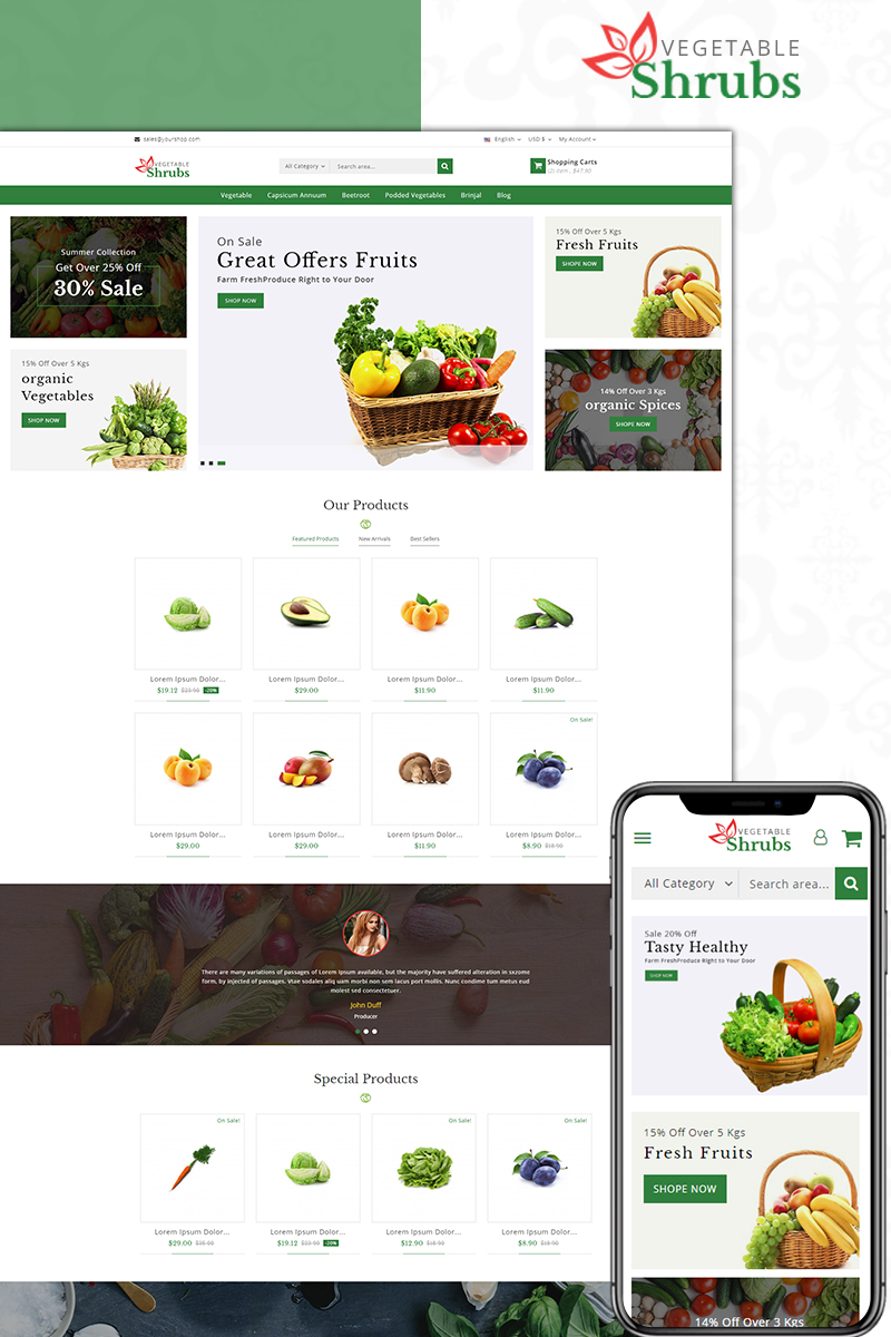 Website Design Template 73587 - food store fresh vegetable fruits prestashop theme
