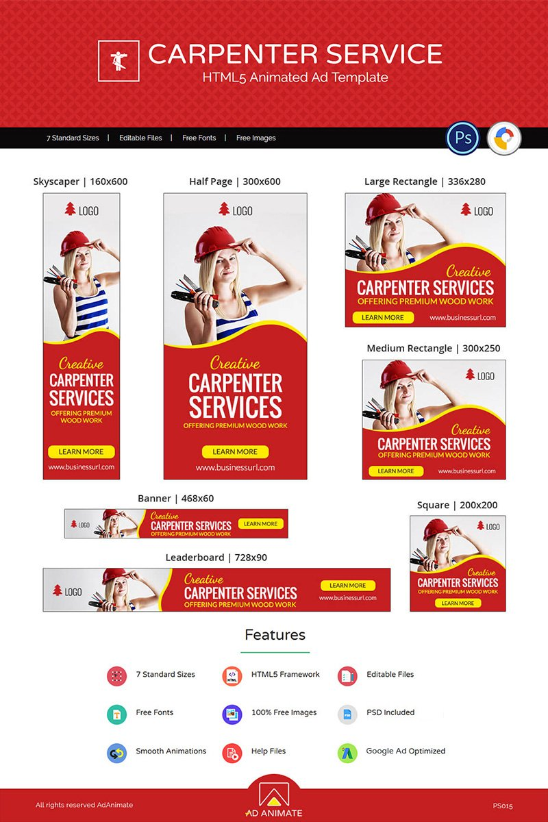Animated Banner Professional Services | Carpenter Service  Ad #73537