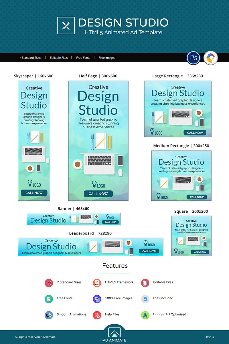 "Animated Banner ""Professional Services | Design Studio Ad"" #73542"