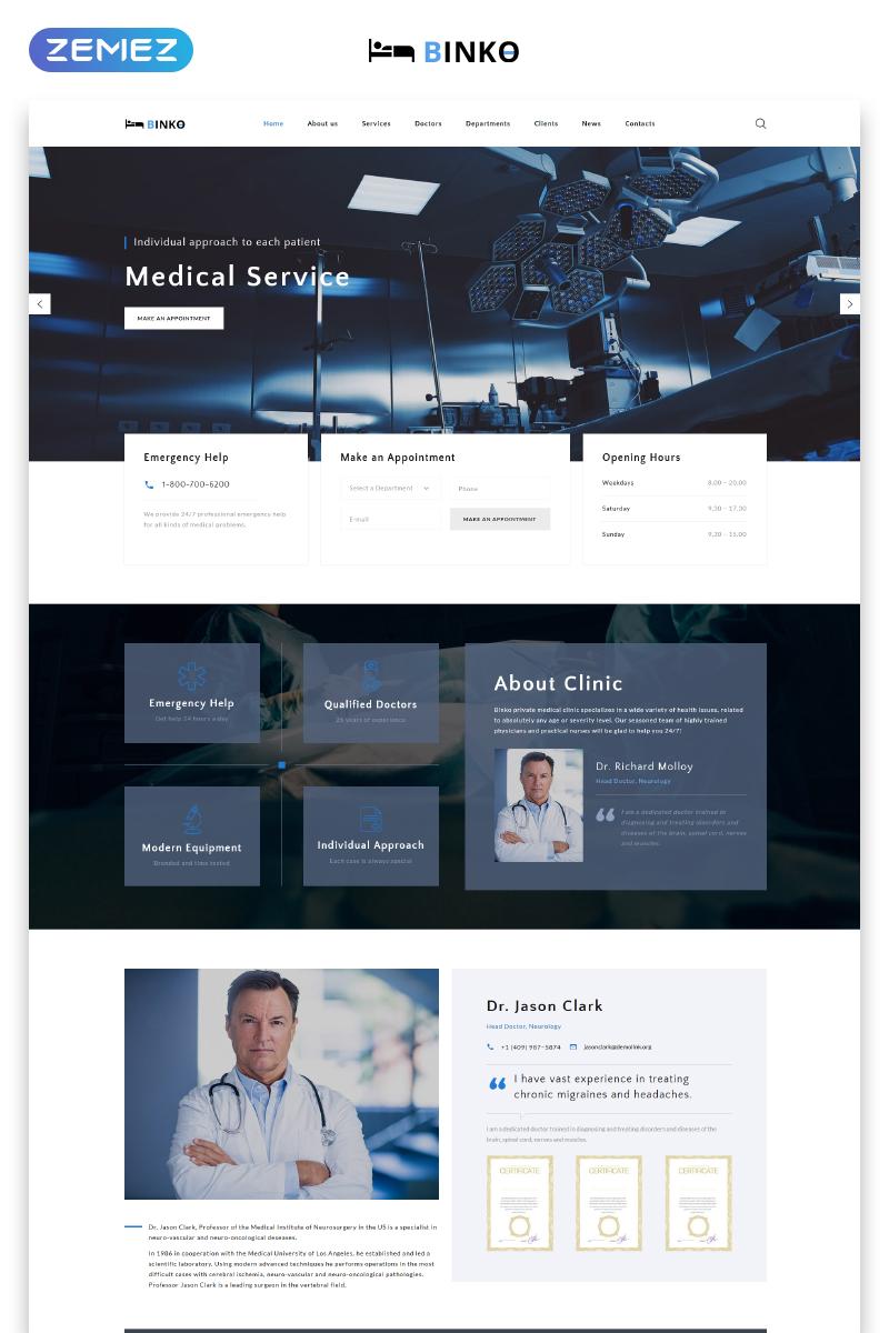 Binko - Futuristic Privat Clinic HTML Templates de Landing Page №73546