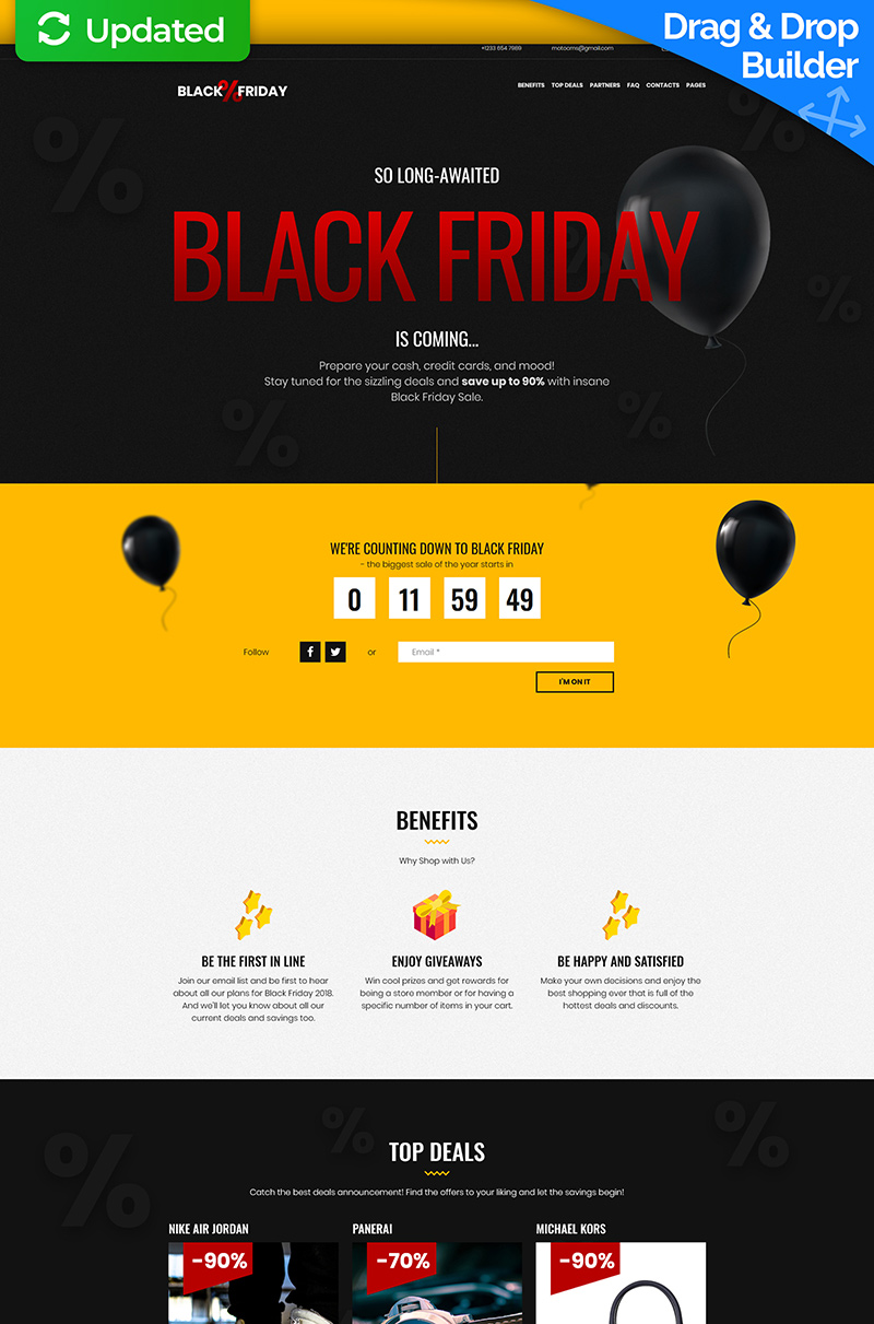 """Black Friday"" Responsive Landingspagina Template №73538"