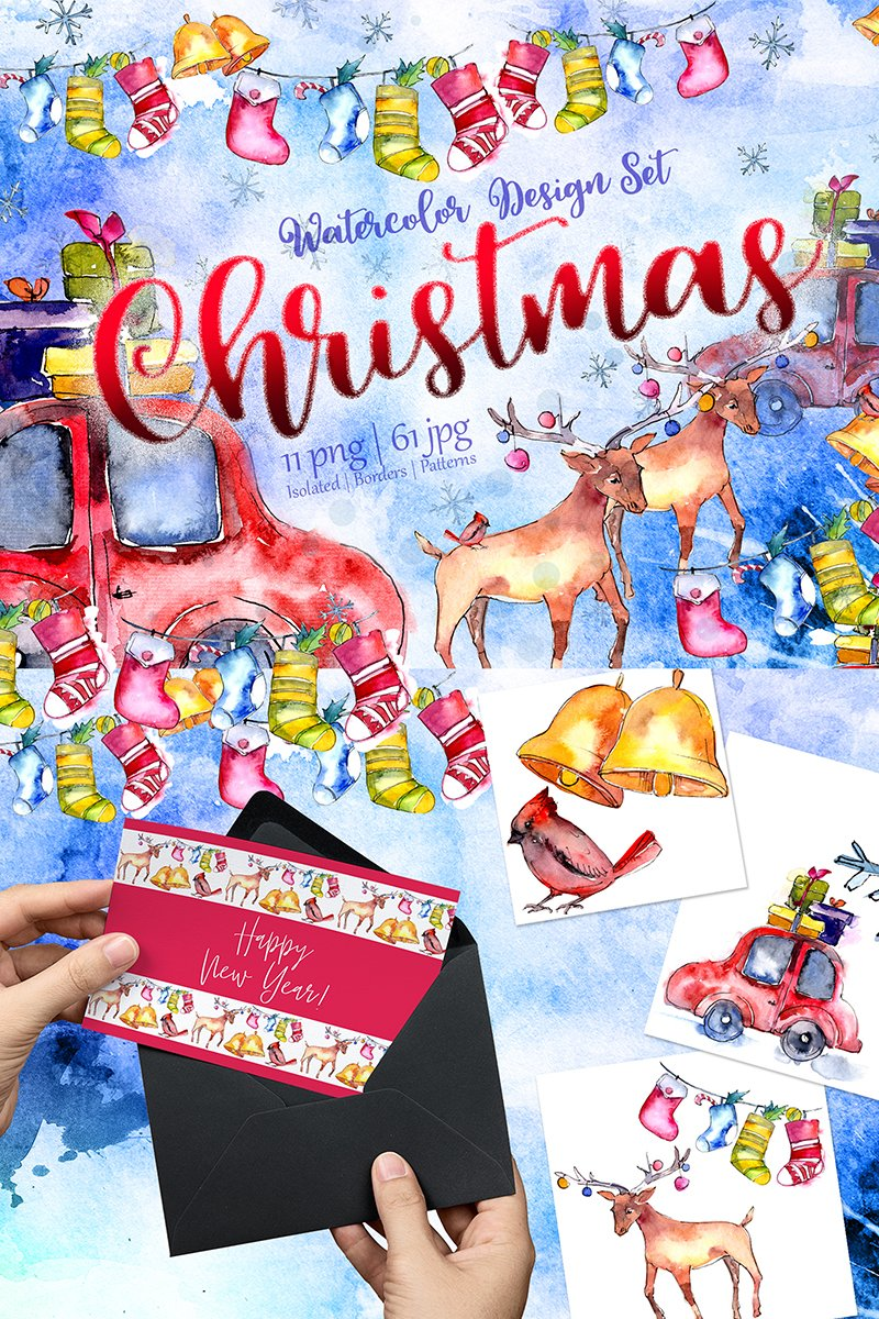 Christmas Collection PNG Watercolor Design Set Illustration
