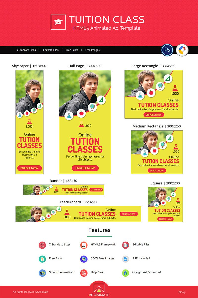 Education & Institute | Tuition Class Ad Animated Banner №73544
