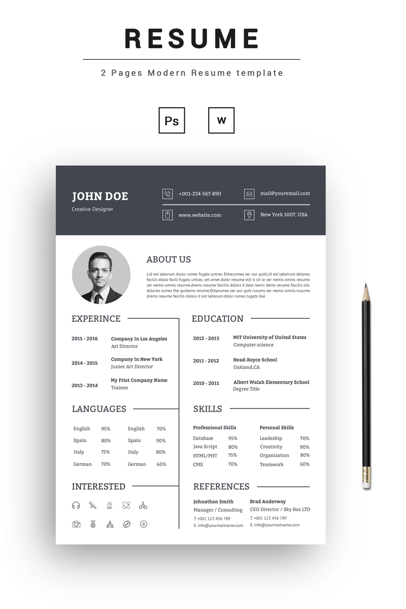 john doe creative resume template  73545