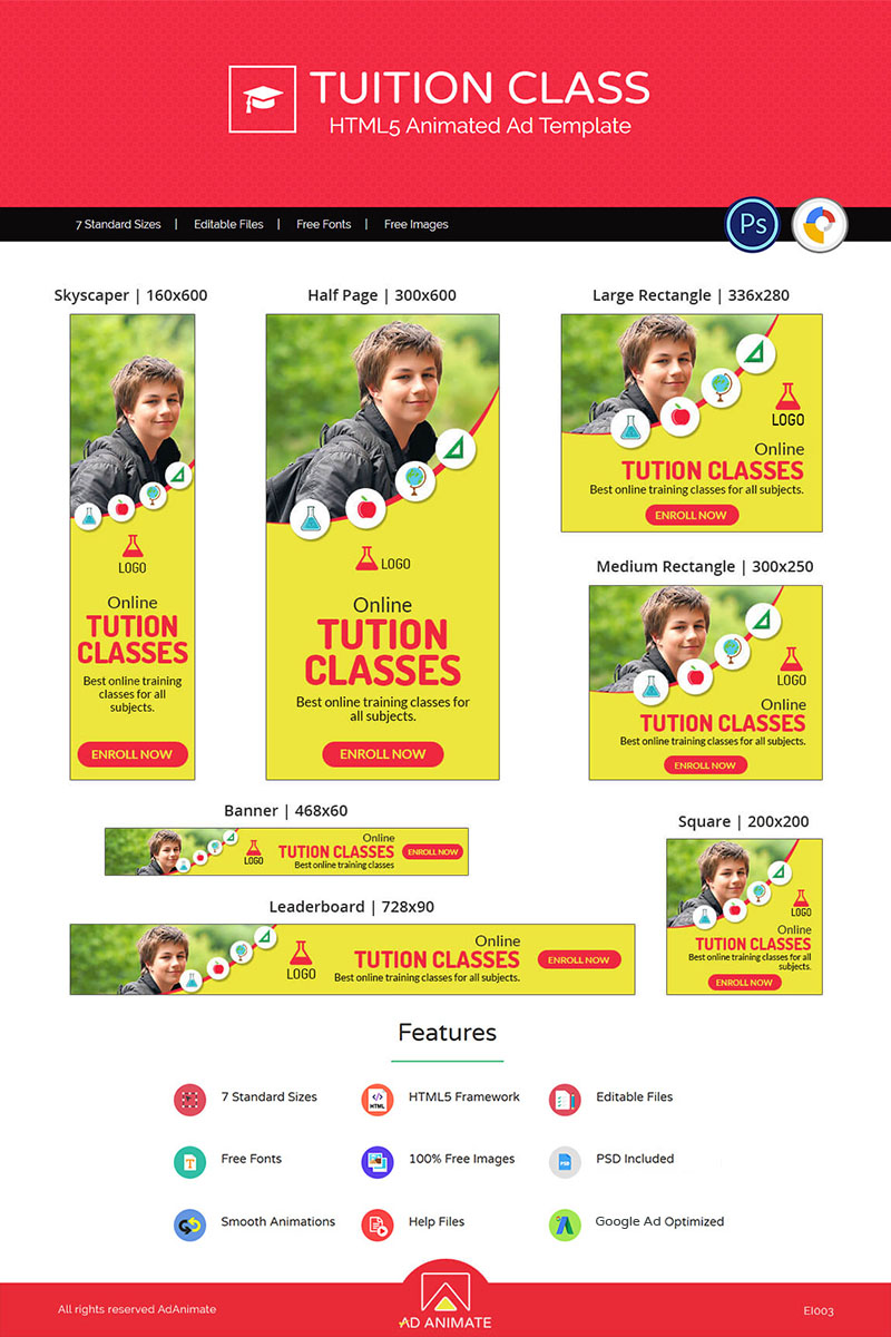 "Modello Animated Banner #73544 ""Education & Institute | Tuition Class Ad"""