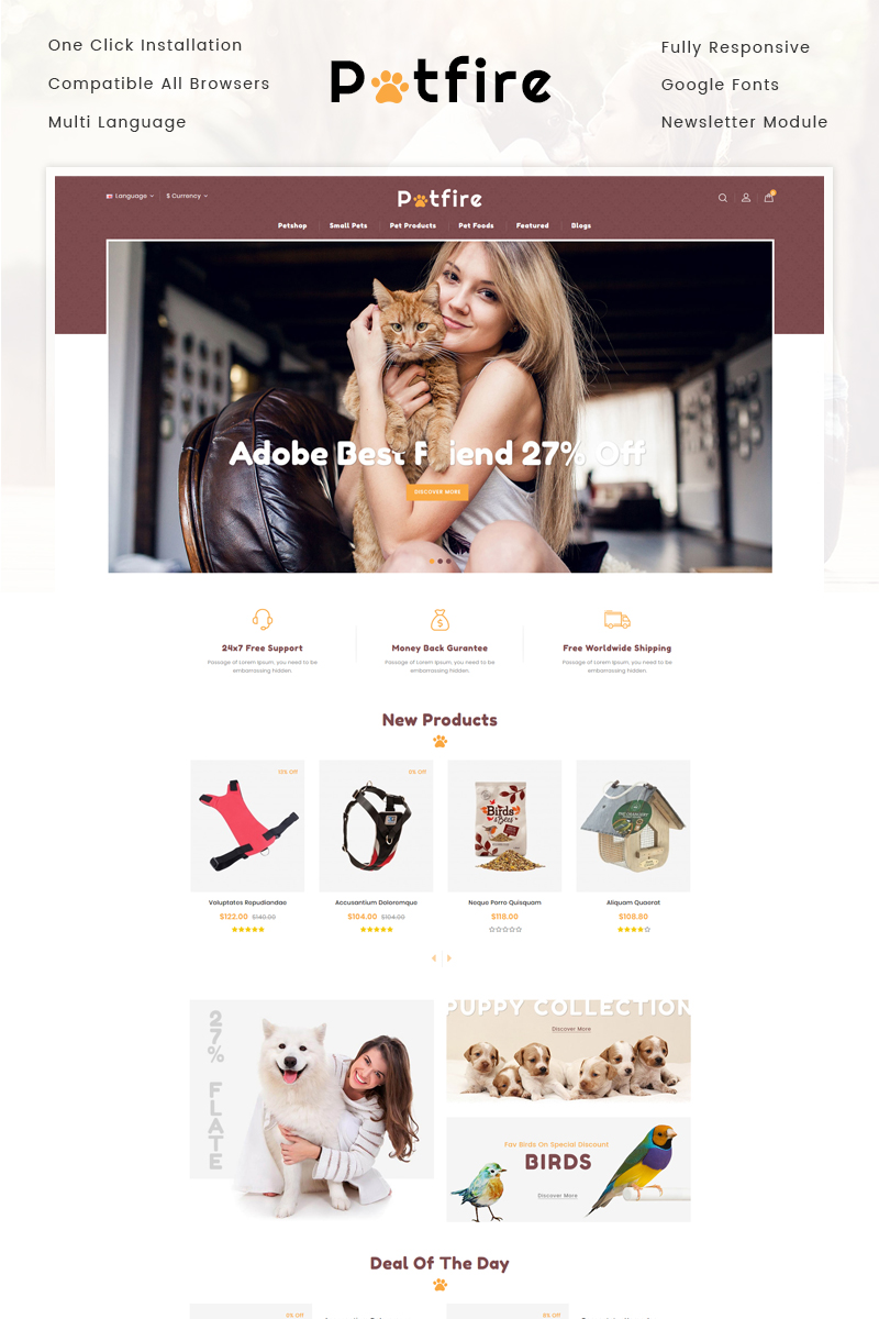 Petfire - Animals Store OpenCart Template