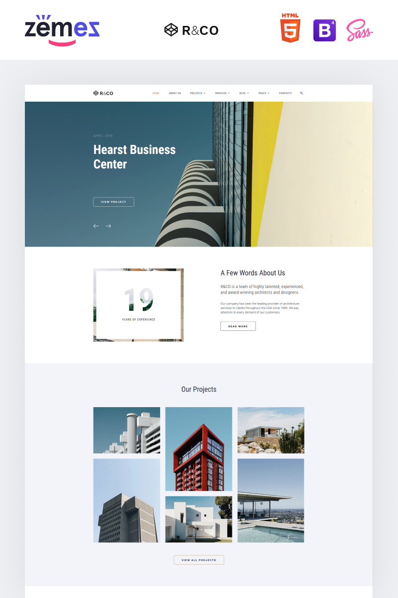 """""""R&CO - Architecture & Construction Multipage HTML"""" 响应式网页模板 #73540"""