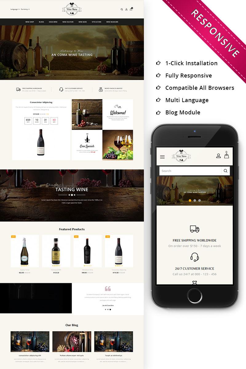 Responsive WineMenu - The Wine Shop Responsive Opencart #73507