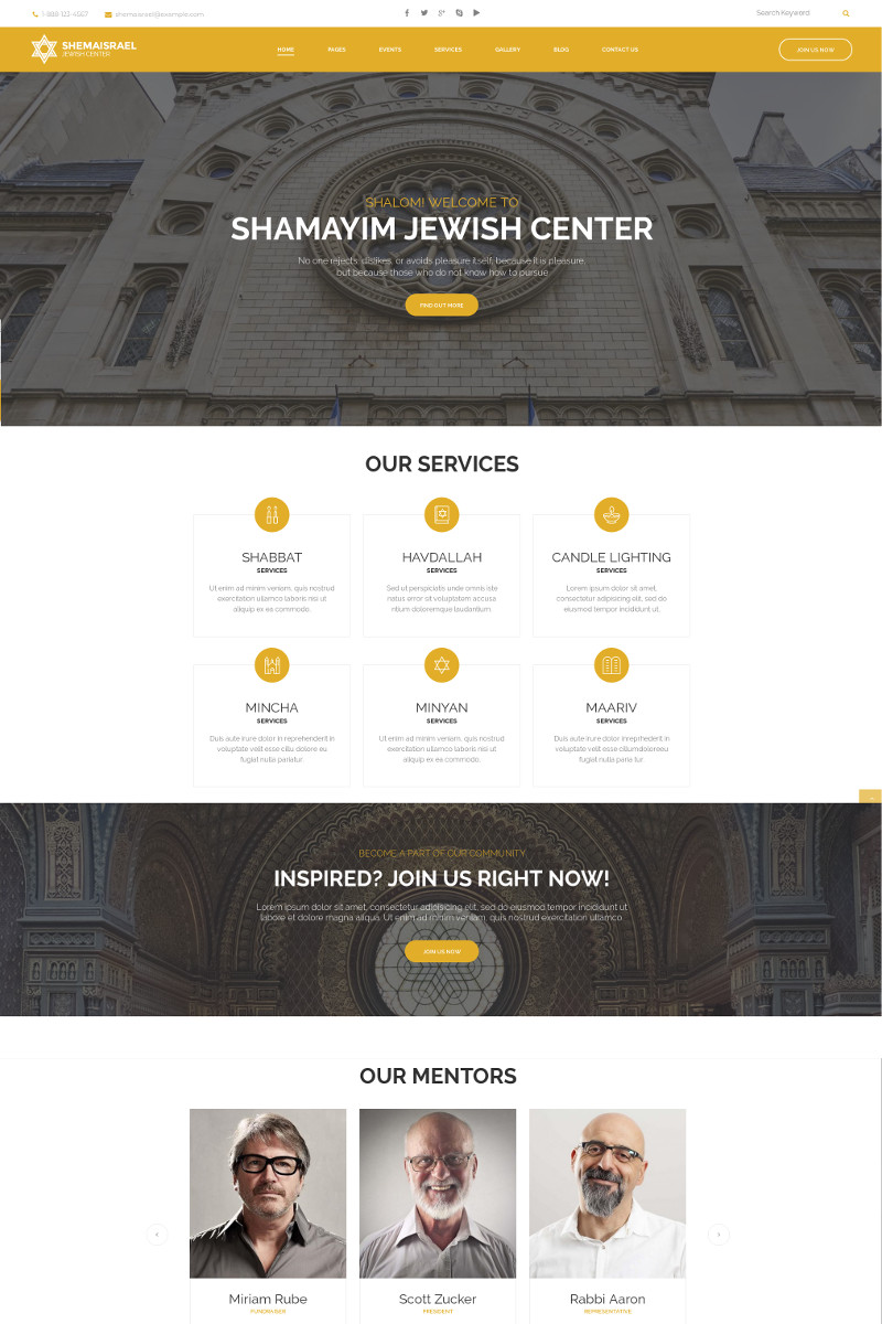 Shema Israel - Jewish Cultural and Religious Center WordPress Theme