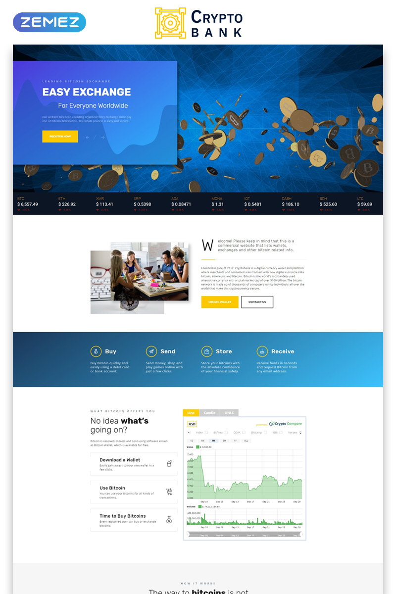 "Tema di Landing Page Responsive #73512 ""Crypto Bank - Cryptocurrency Exchange HTML"""
