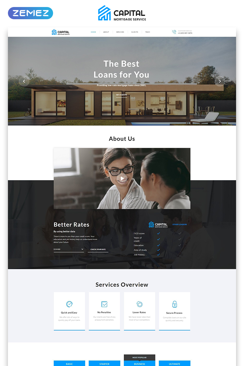 "Tema di Landing Page Responsive #73581 ""Capital - Solid Mortgage Company  HTML"""