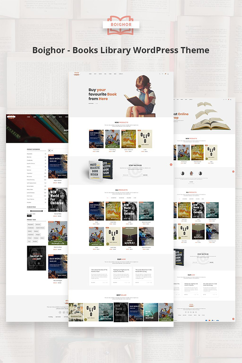 "Tema WooCommerce ""Boighor - Books Library"" #73590"