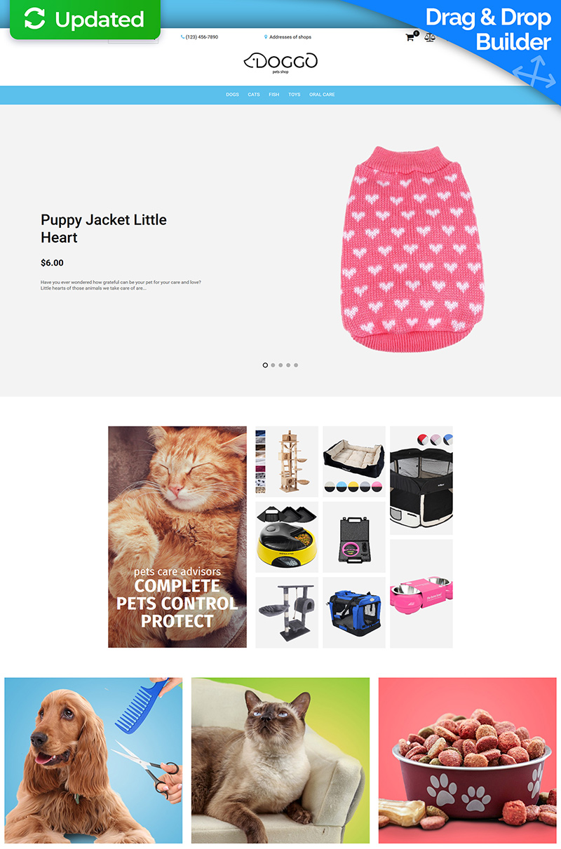 "Template MotoCMS E-commerce Responsive #73567 ""Doggo - Pet Shop"""