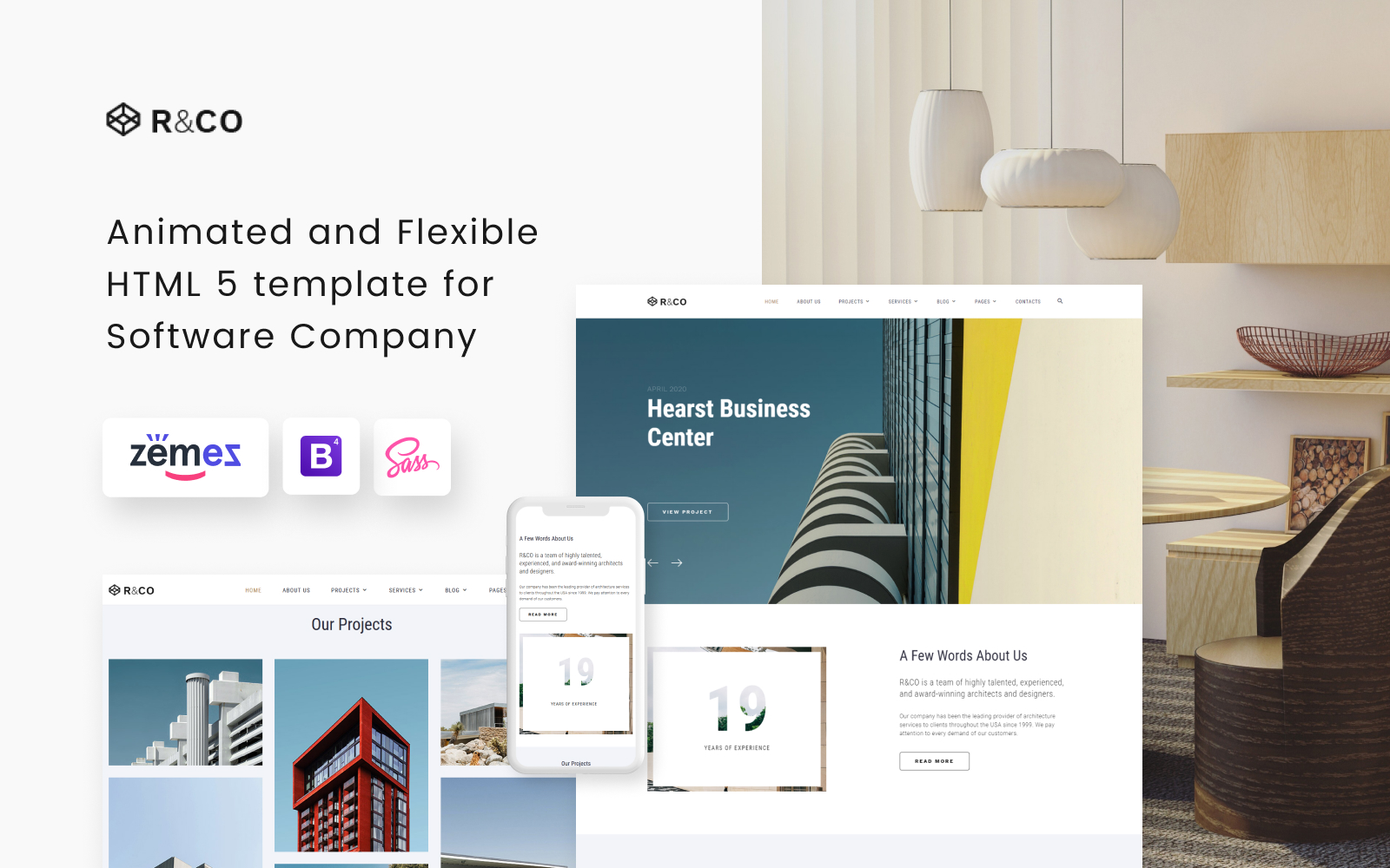 """Template Siti Web Responsive #73540 """"R&CO - Architecture and Construction"""""""