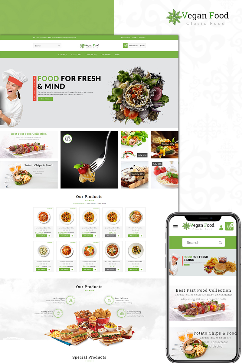 """Vegan Food Store"" - адаптивний PrestaShop шаблон №73575"