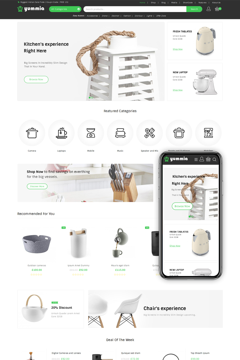 Yummia Multi Store WooCommerce Theme - screenshot