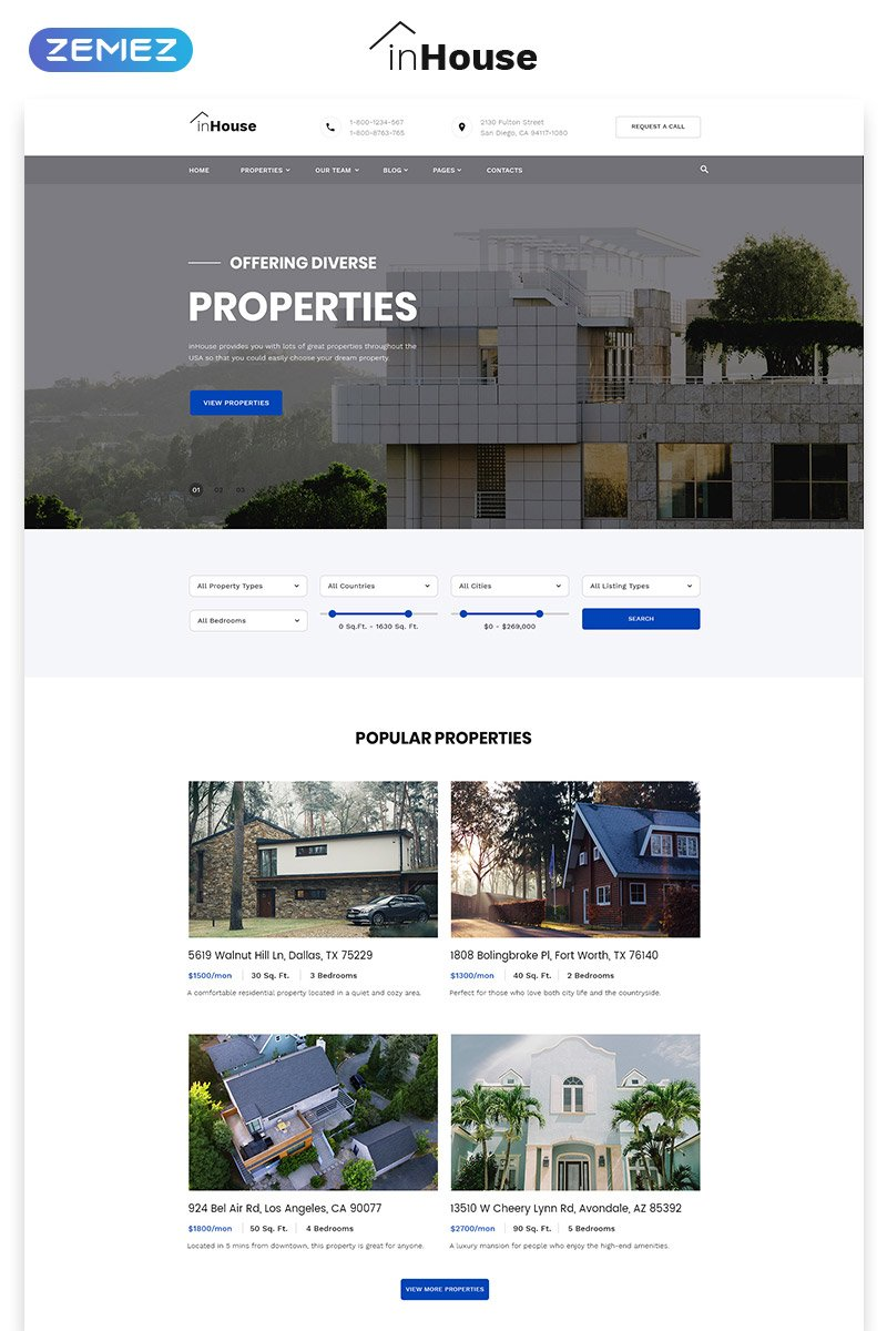 Website Design Template 73602 - agency services house realestate apartment building finance rentals management mortgage investment constructions architecture engineering sale broker