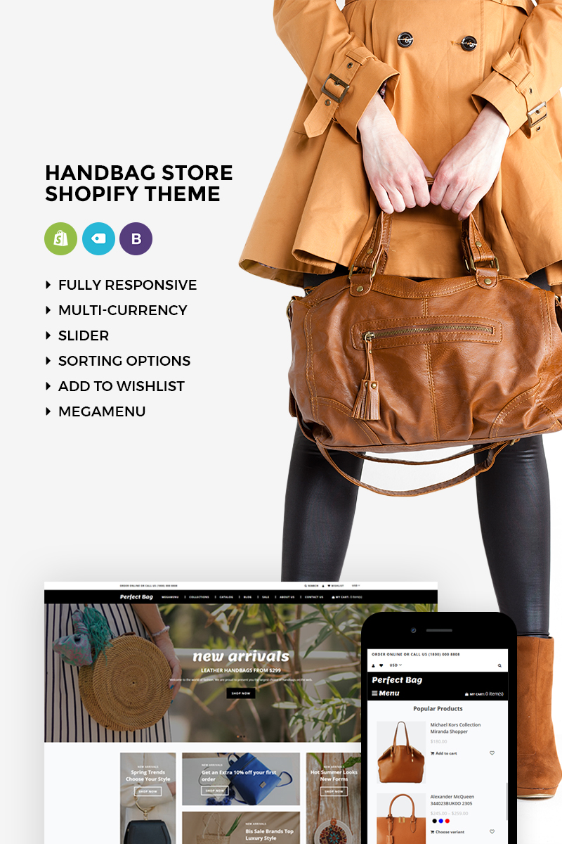 Website Design Template 73610 - ecommerce fashion handbashag products shop shopify