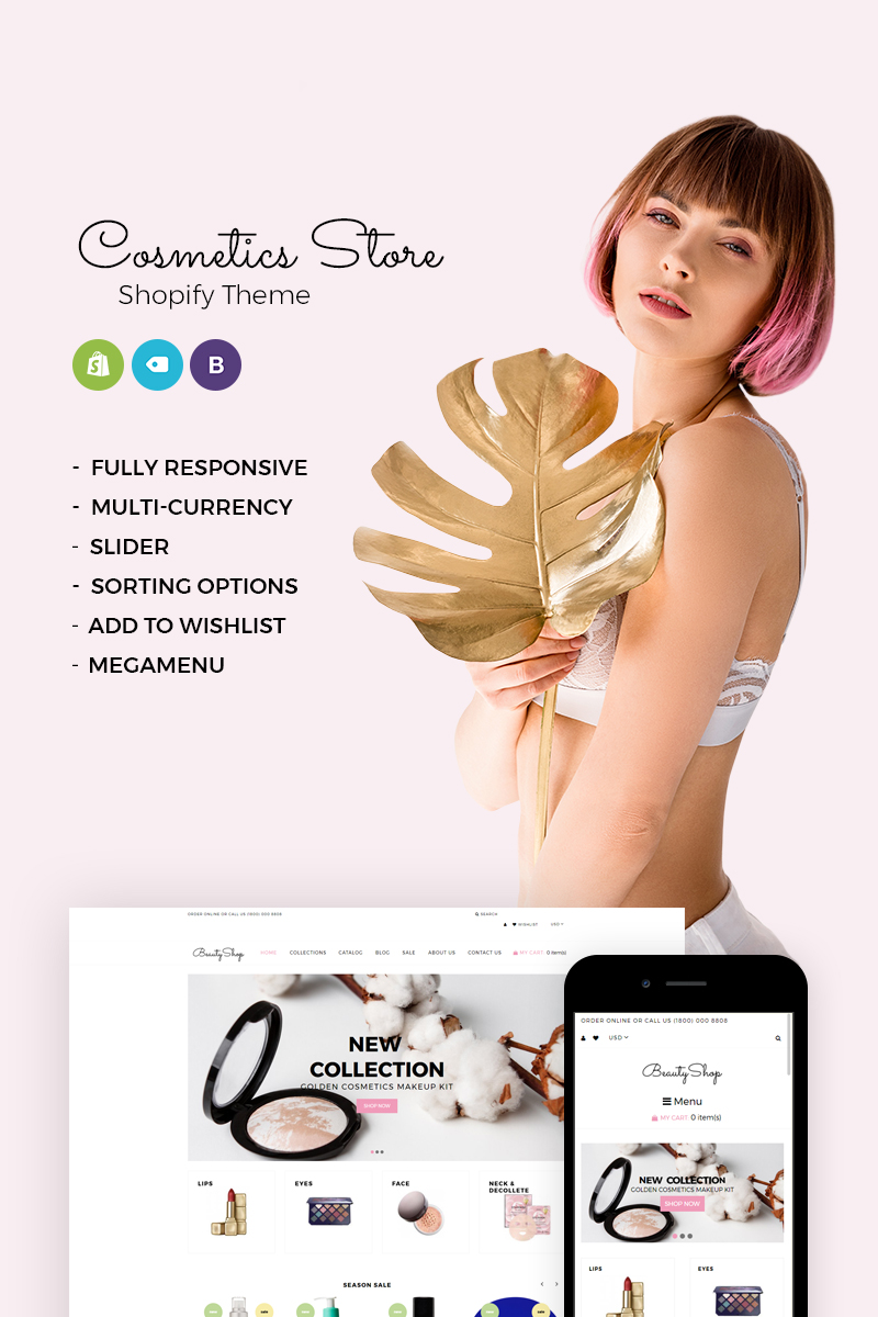 Website Design Template 73621 - cosmetics ecommerce product shop shopify