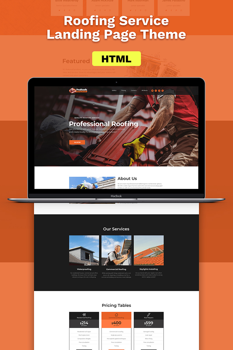 responsive roofing landing page template website templates