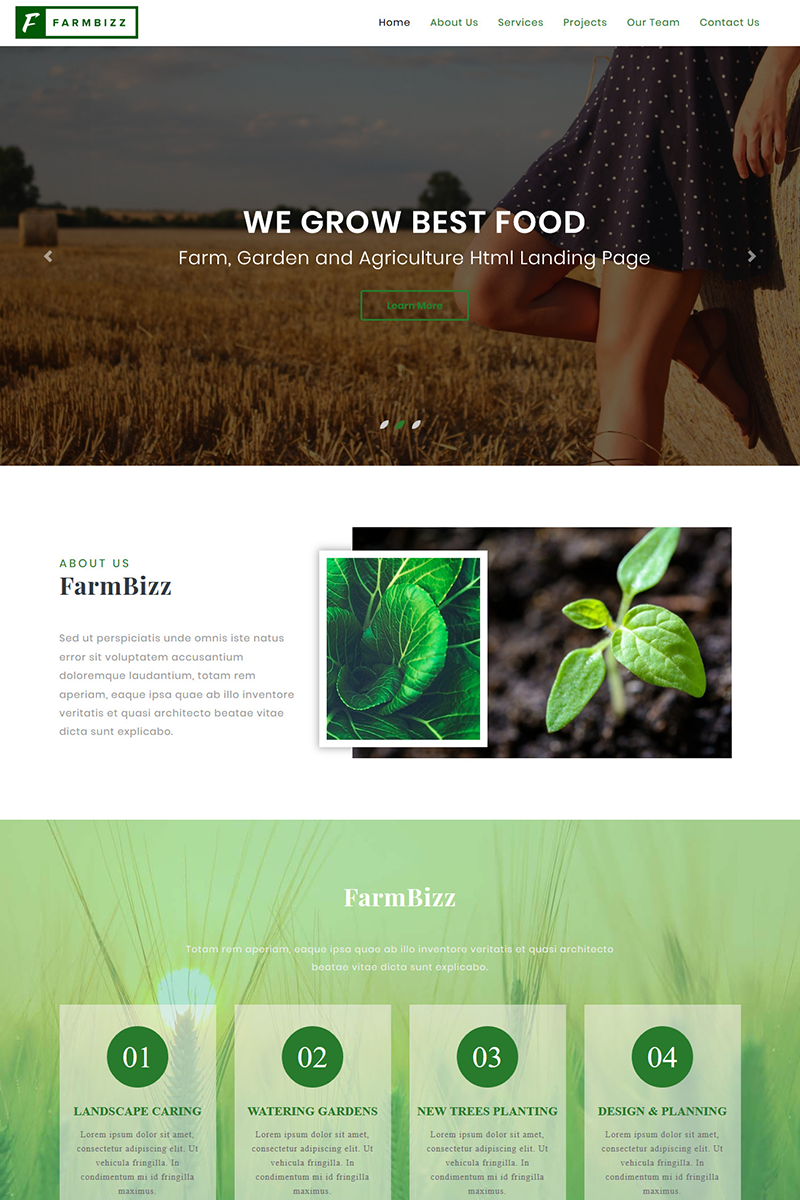 FarmBizz - Organic Food & Eco Farm HTML Template Landing Page Template