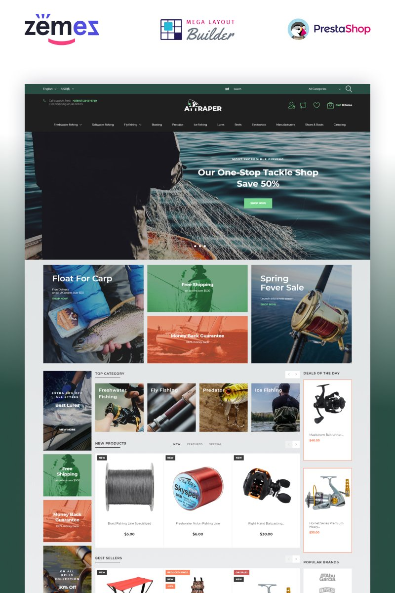 """Attraper - Fishing eCommerce Bootstrap Template"" thème PrestaShop adaptatif #73642"