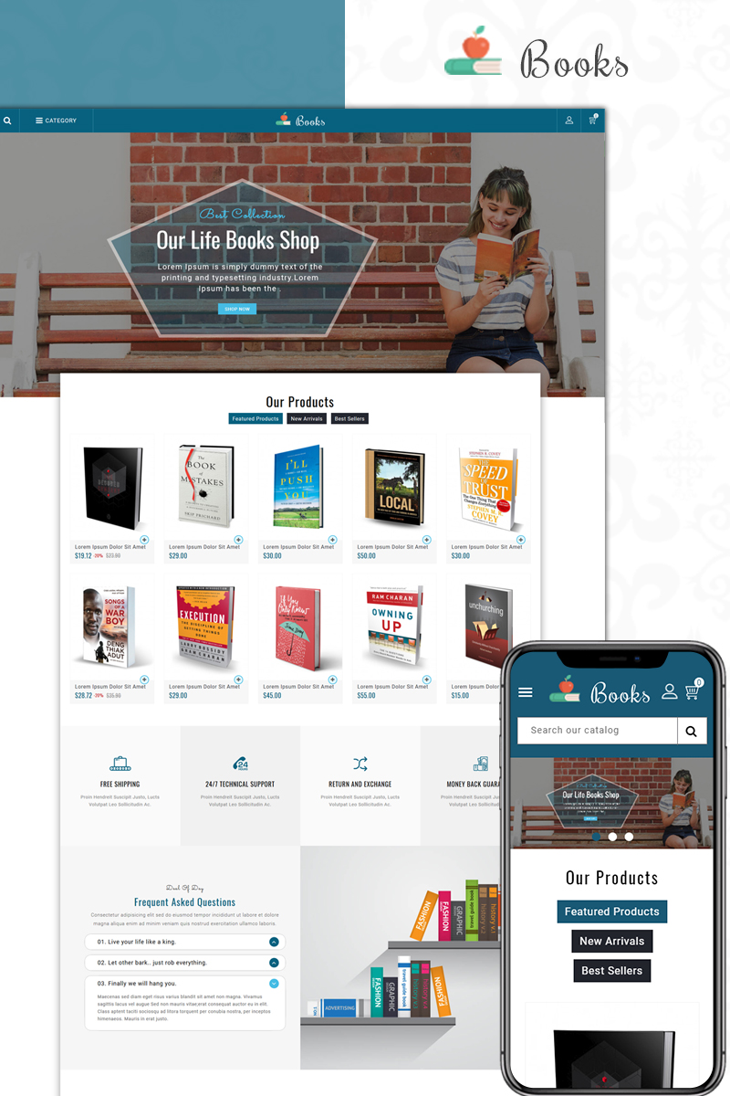 """Books Sales Store"" thème PrestaShop adaptatif #73607 - screenshot"