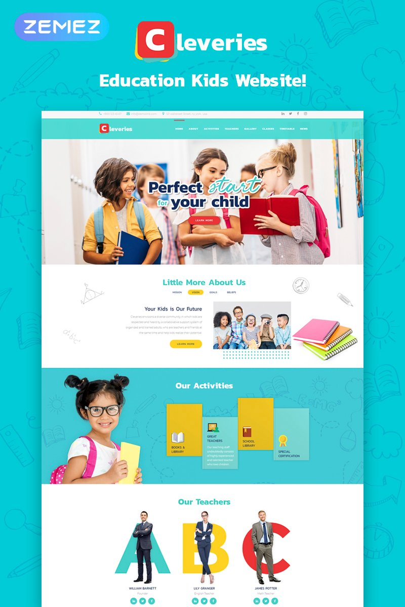 Cleveries - Education Kids Elementor WordPress Theme