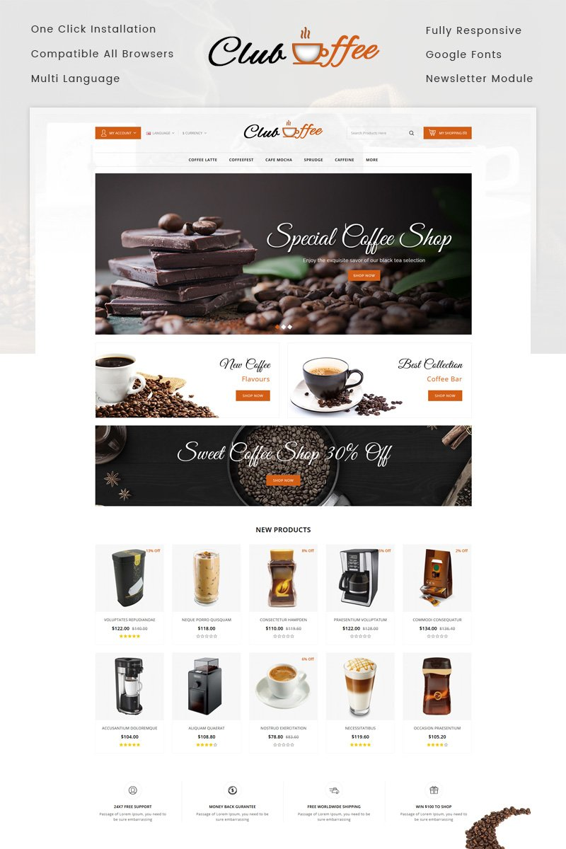 Club Coffee Shop OpenCart Template