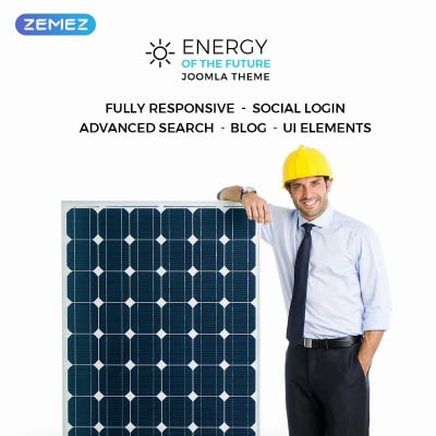 Thème Joomla adaptatif  pour site d'énergie solaire