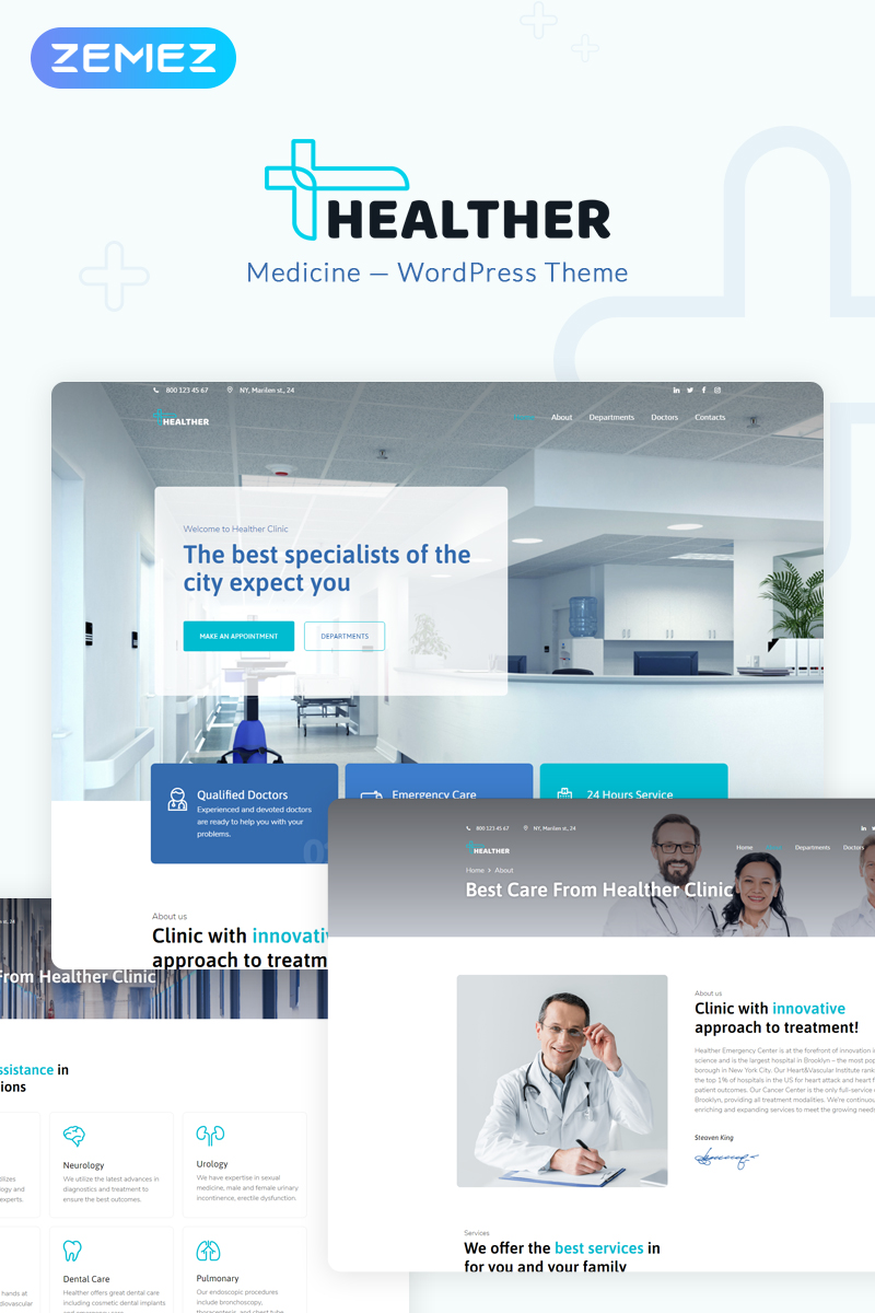 """Healther - Medical Services Elementor"" - адаптивний WordPress шаблон №73637"
