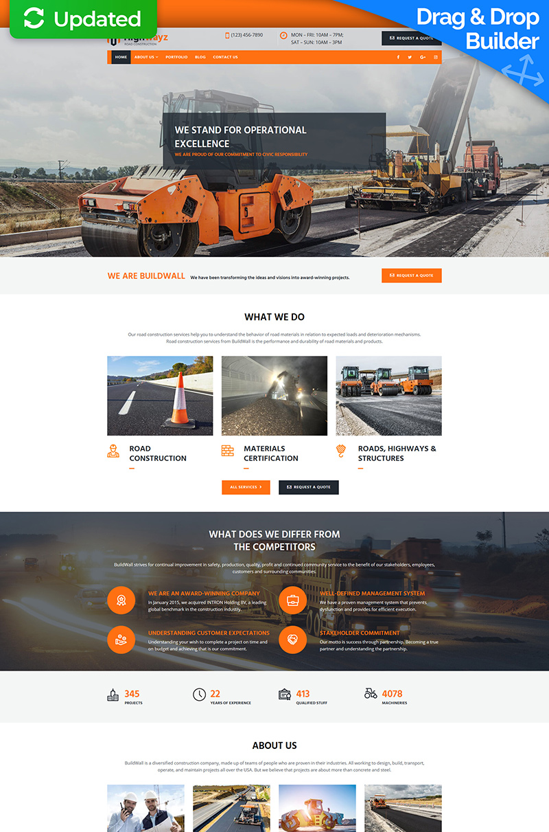 """Highwayz - Road Construction"" Responsive Moto CMS 3 Template №73601 - screenshot"