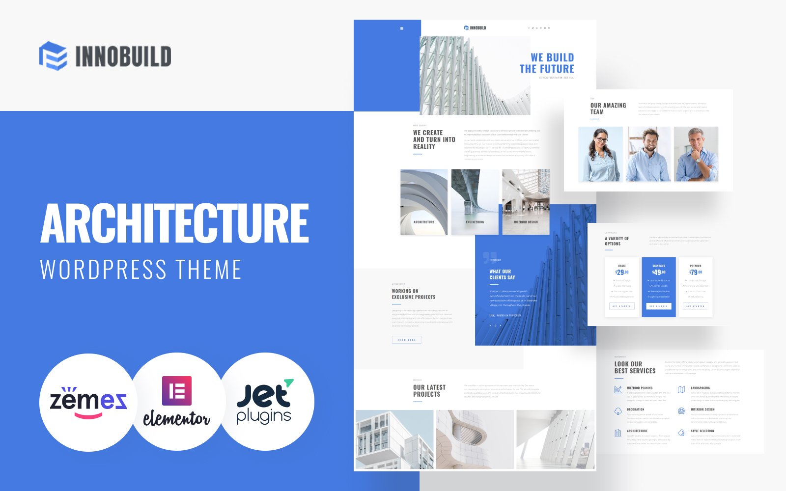 """Innobuild - Solid And Reliable Architecture Design"" Responsive WordPress thema №73628"