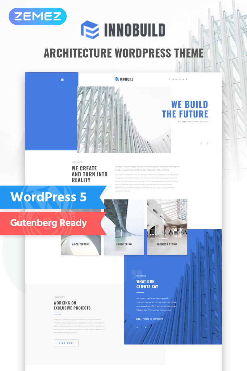 """Innobuild - Solid And Reliable Architecture Design"" Responsive WordPress thema №73628"