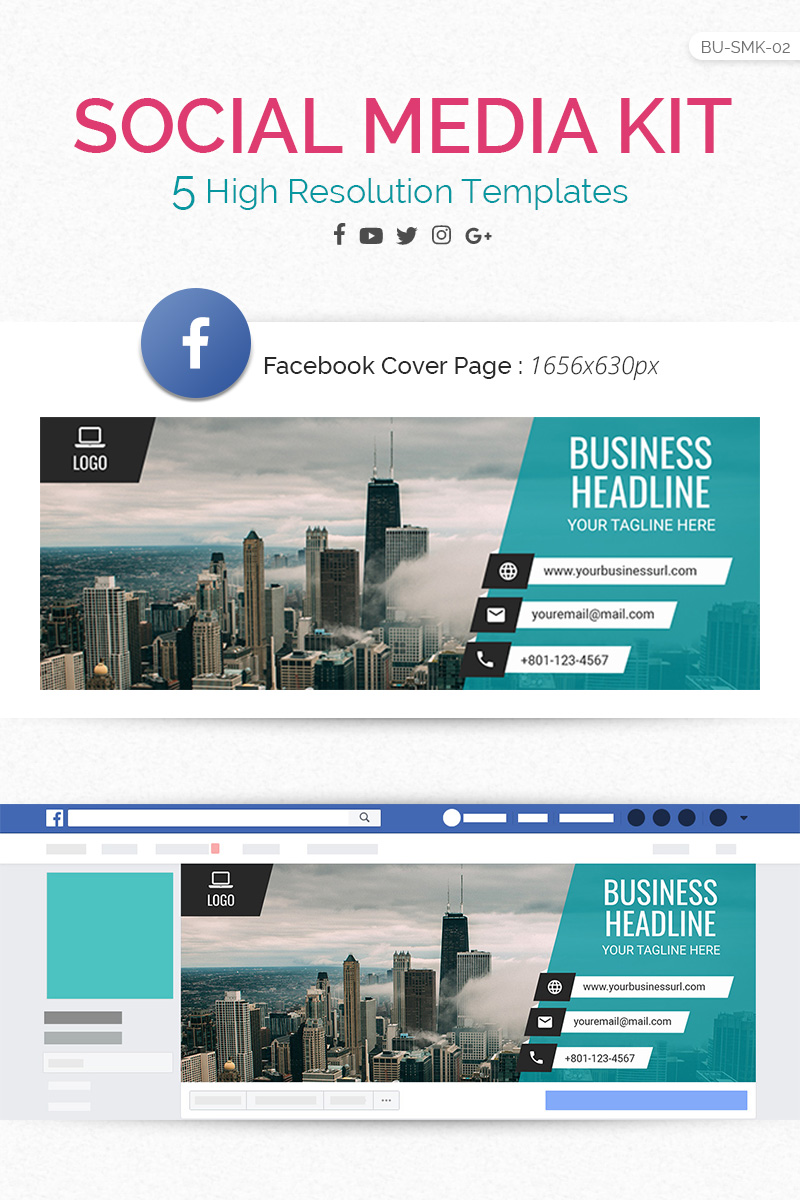 """Logix Social Media Kit - Facebook, Twitter, YouTube, Instagram & Google+"" Responsive Social Media №73618"